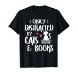 holiday gift guide for readers tshirt easily distracted by cats and books