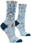 fuck off i'm reading socks with cat and books bookish holiday gift