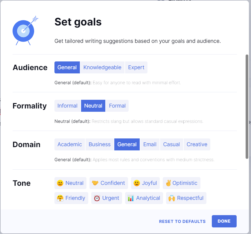 shows goal setting in grammarly