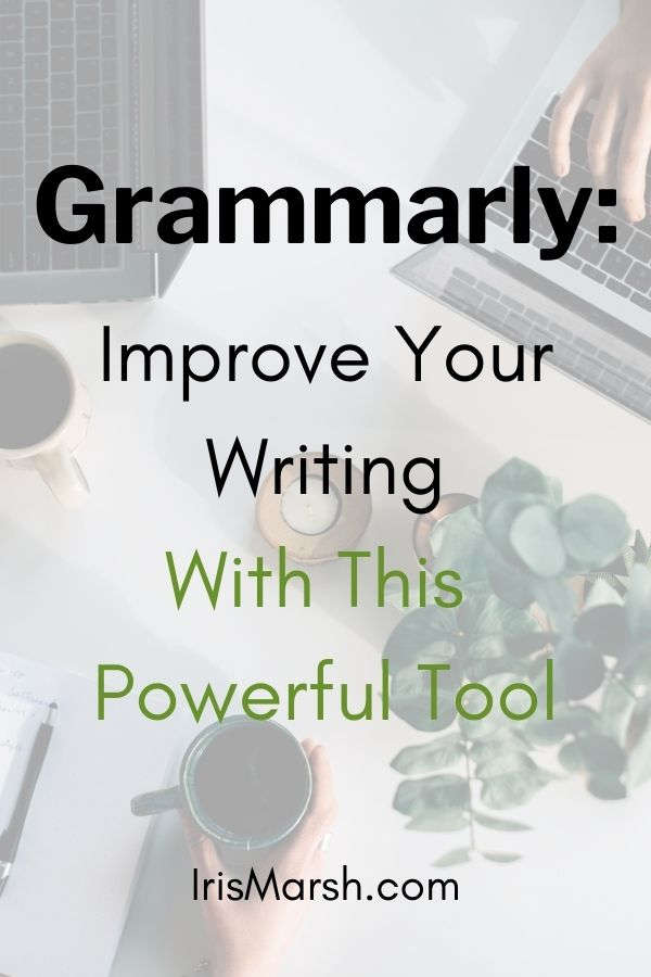 grammarly improve your writing text with laptop typing background picture