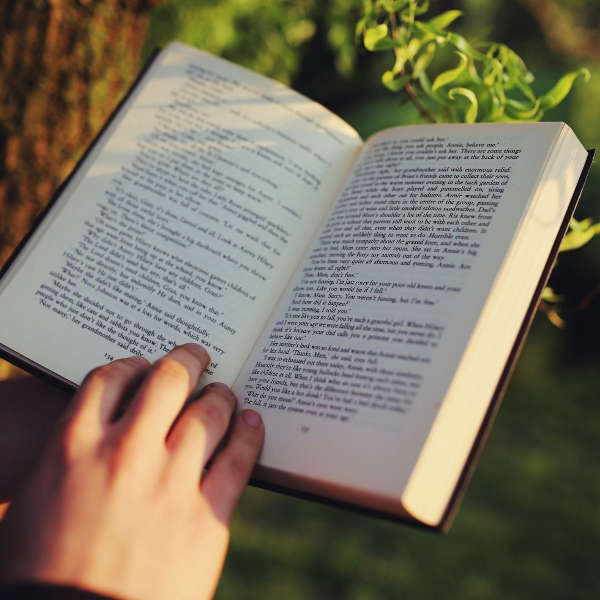 hand holding open a book with a tree and branch in the background