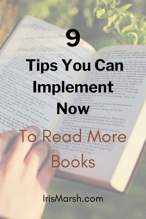 tips to read more books pinable picture with book in the background