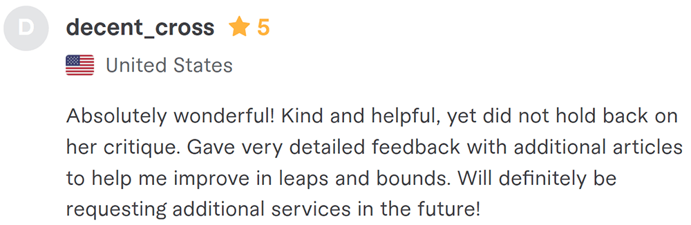 editing service customer review